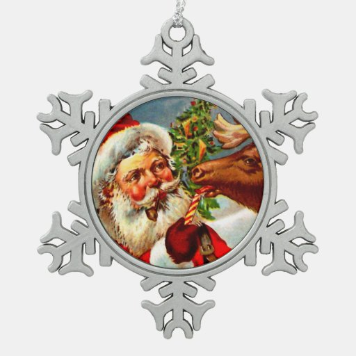 Santa Claus with Reindeer Ornaments