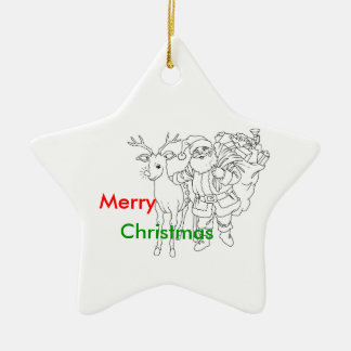 Santa Claus with Reindeer, Merry Christmas Ceramic Star Decoration