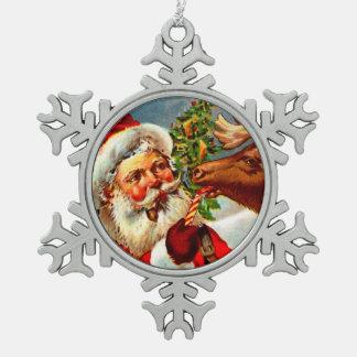 Santa Claus with Reindeer Pewter Snowflake Decoration