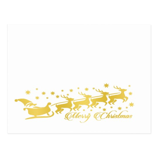 Santa Claus with reindeers and sleigh gold white