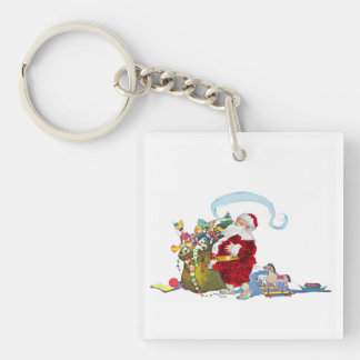 Santa Claus With Sack Of Toys Single-Sided Square Acrylic Key Ring