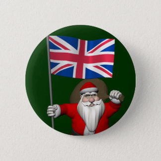 Santa Claus With Union Flag Of The UK 6 Cm Round Badge