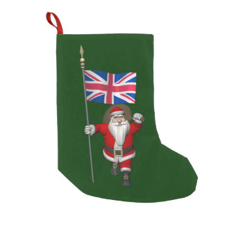 Santa Claus With Union Flag Of The UK Small Christmas Stocking