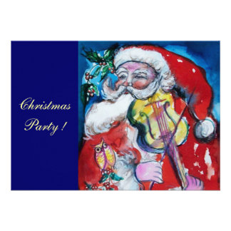 SANTA CLAUS WITH VIOLIN CHRISTMAS PARTY CUSTOM INVITE