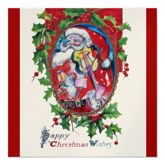 SANTA  CLAUS WITH VIOLIN - CHRISTMAS PARTY PERSONALIZED INVITE