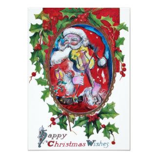 SANTA  CLAUS WITH VIOLIN - CHRISTMAS PARTY 13 CM X 18 CM INVITATION CARD