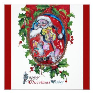 SANTA CLAUS WITH VIOLIN - CHRISTMAS PARTY CUSTOM INVITATIONS