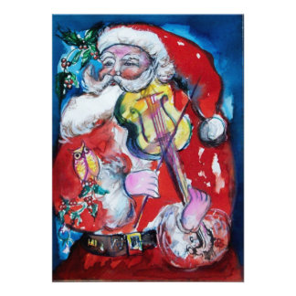 SANTA CLAUS WITH VIOLIN, CHRISTMAS PARTY PERSONALIZED ANNOUNCEMENTS