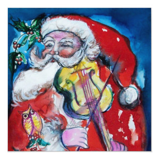 SANTA  CLAUS WITH VIOLIN - CHRISTMAS PARTY Silver 13 Cm X 13 Cm Square Invitation Card