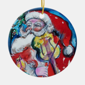 SANTA CLAUS WITH VIOLIN,MUSICAL CHRISTMAS Red Ruby Round Ceramic Decoration