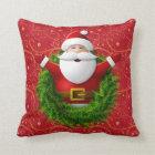 santa claus wreath throw pillow
