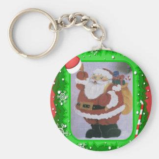 santa clause basic round button key ring