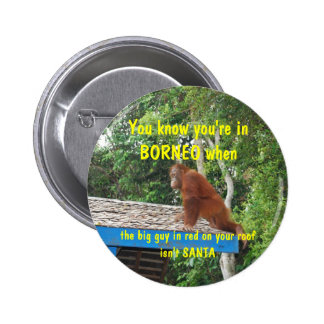 Santa Clause Borneo Christmas 6 Cm Round Badge