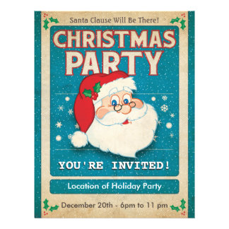 Santa Clause Christmas Party 21.5 Cm X 28 Cm Flyer