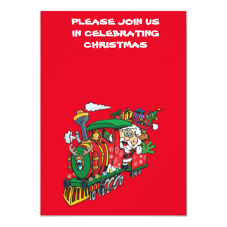 Santa Clause coming to town on his Locomotive 13 Cm X 18 Cm Invitation Card