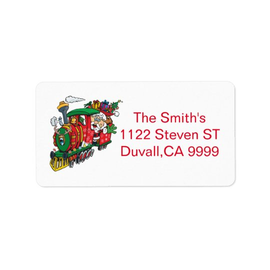 Santa Clause coming to town on his Locomotive Address Label