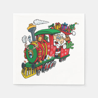 Santa Clause coming to town on his Locomotive Disposable Napkin