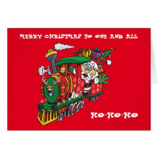Santa Clause coming to town on his Locomotive Greeting Card