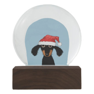Santa Clause Dachshund - Funny Dog with Santa Hat Snow Globe