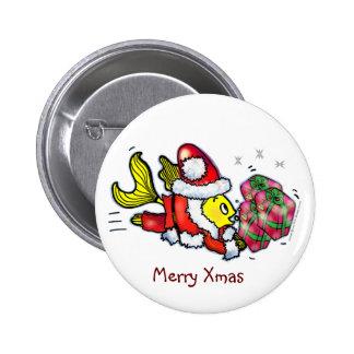 Santa Clause Fish - funny cute Christmas cartoon 6 Cm Round Badge