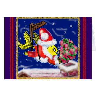 Santa Clause Fish - funny cute Christmas comics Greeting Card