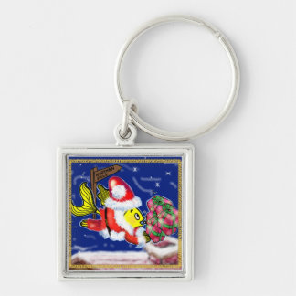 Santa Clause Fish - funny cute Christmas comics Keychain