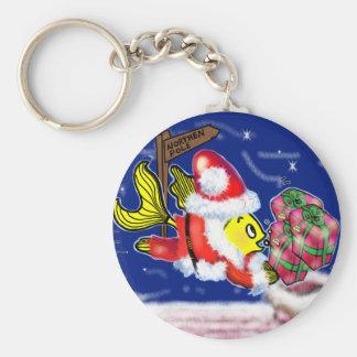 Santa Clause Fish - funny cute Christmas comics Basic Round Button Key Ring