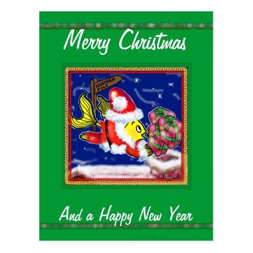 Santa Clause Fish - funny cute Christmas comics Post Cards