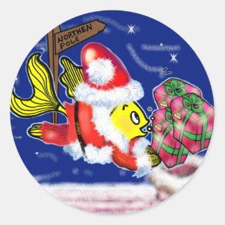 Santa Clause Fish - funny cute Christmas comics Round Sticker