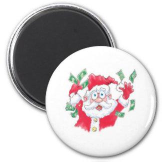 Santa Clause giving money away Refrigerator Magnet