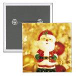 Santa Clause Golden Christmas Holidays Pinback Buttons