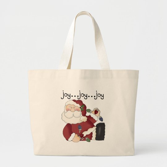 Santa Clause Holiday Joy T-shirts and gifts Large Tote Bag