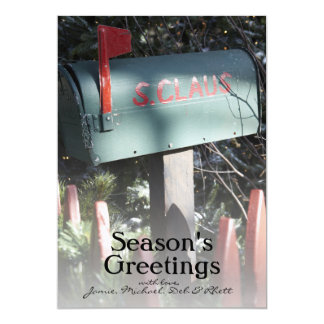 Santa clause mailbox 13 cm x 18 cm invitation card