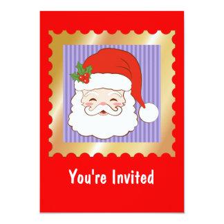 Santa Clause on a purple stripped background 13 Cm X 18 Cm Invitation Card