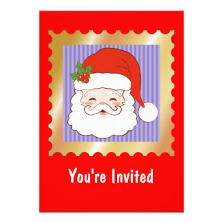 Santa Clause on a purple stripped background Personalized Announcements