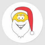 Santa Clause Smiley Face Round Sticker