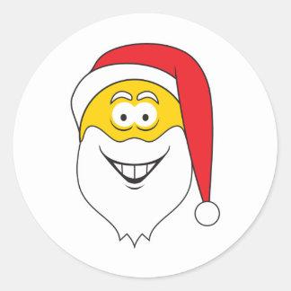 Santa Clause Smiley Face Round Sticker
