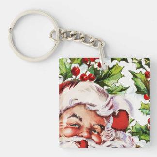 Santa clause vintage holly christmas Single-Sided square acrylic key ring