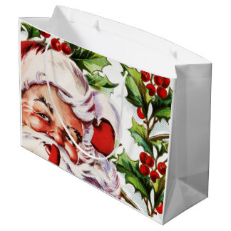 Santa clause vintage holly elegant large gift bag