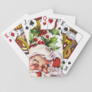 Santa clause vintage holly elegant playing cards