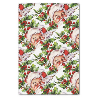 Santa clause vintage holly elegant tissue paper