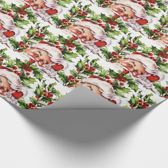 Santa clause vintage holly elegant wrapping paper