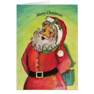 Santa clause with gifts and blessings! card