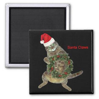 Santa Claws Cat Square Magnet