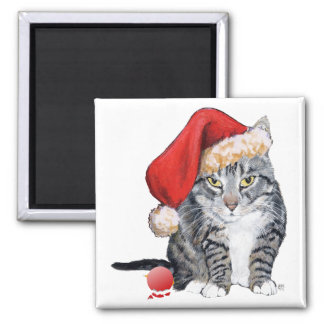 Santa Claws Cat with Ornament Square Magnet