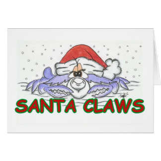 Santa CLAWS Christmas Crab Card
