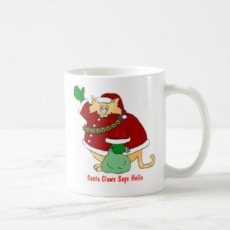 Santa Claws Christmas Kitty Basic White Mug