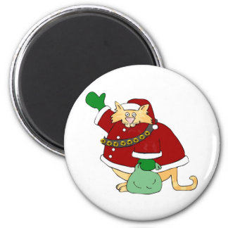 Santa Claws Kitty 6 Cm Round Magnet