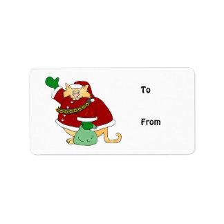 Santa Claws Kitty Address Label