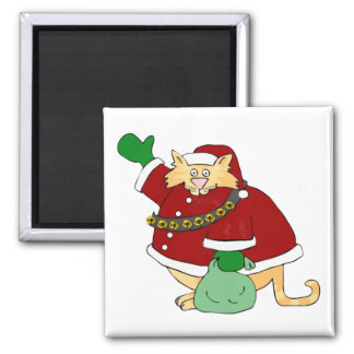Santa Claws Kitty Square Magnet